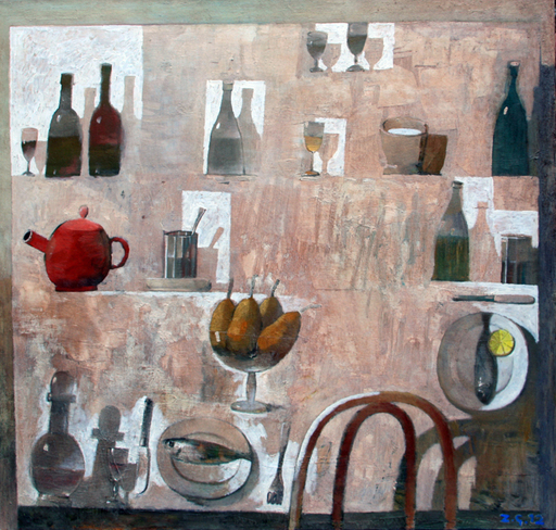 Zurab GIKASHVILI - Painting - Still life with pears