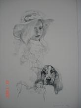 Renzo VESPIGNANI - Grabado - Bambina con cane