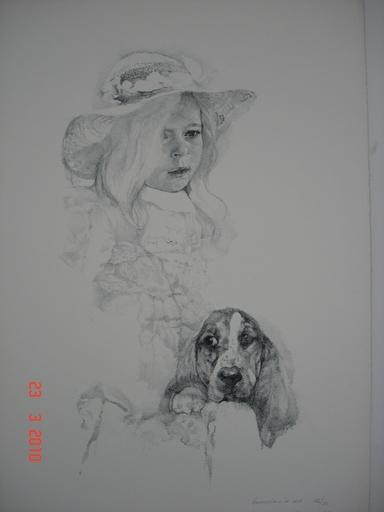 Renzo VESPIGNANI - Stampa-Multiplo - Bambina con cane