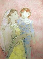Jaime QUESADA - Dibujo Acuarela - maternidad