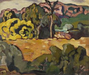 Louis VALTAT - Peinture - Paysage du midi au palmier