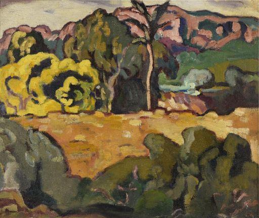 Louis VALTAT - Gemälde - Paysage du midi au palmier