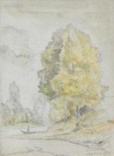 Camille PISSARRO - Drawing-Watercolor -  Arbres au bord d'une rivière