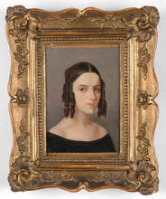 "Karl VON SAAR (Attrib.) - Painting - ""Portrait of a young woman"" oil painting, 1840s"