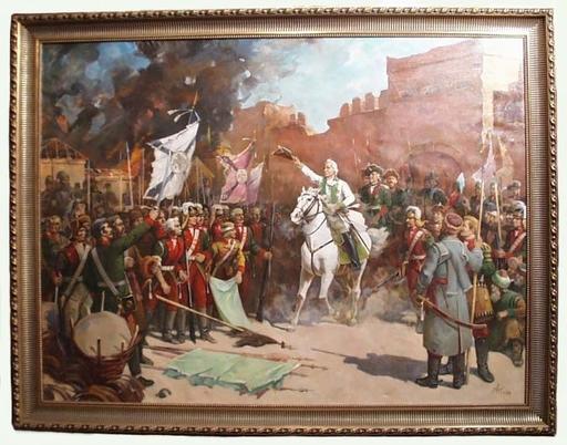 "Arkadi RUSIN - Peinture - ""Alexander Suvorov after the Capture of Ismail"", 1950's"