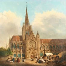 Hippolyte Victor SEBRON - Painting - View of a Gothic Cathedral