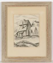 "Israel ABRAMOVSKY - Zeichnung Aquarell - ""Village motif"", drawing, 1920s"