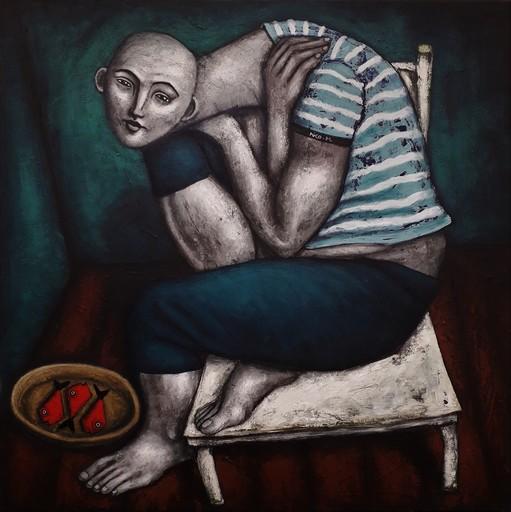 Nicolas MONJO - Painting - Vianjde et poisson