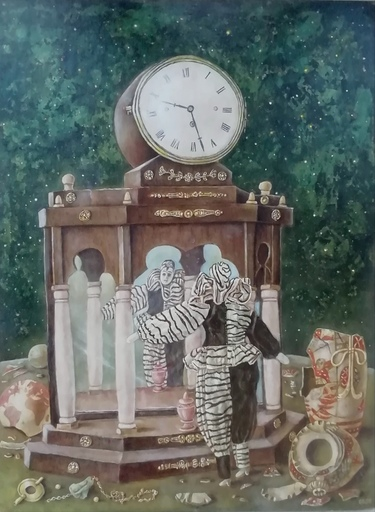 Erich GARGERLE - Gemälde - Pulcinella nel carnevale veneziano