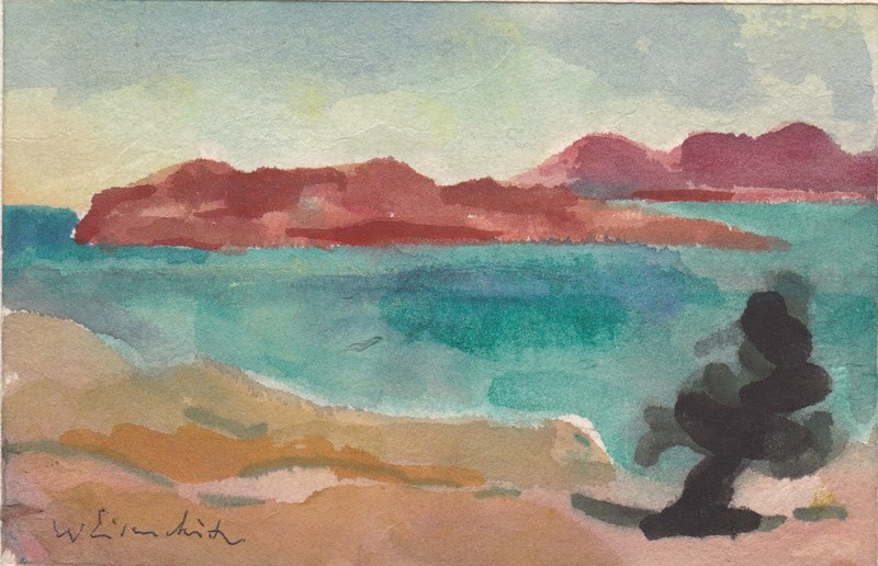 Willy EISENSCHITZ - Dibujo Acuarela - Paysage de Provence