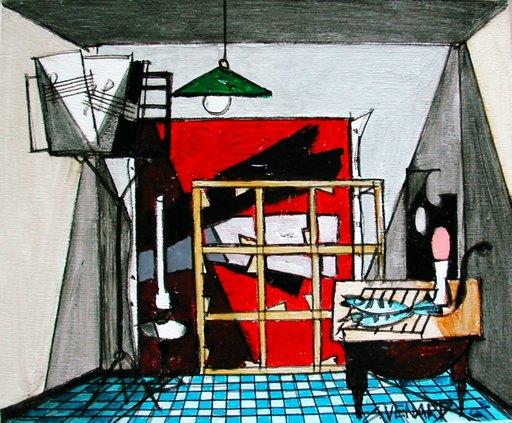 Claude VENARD - Painting - Les Poissons