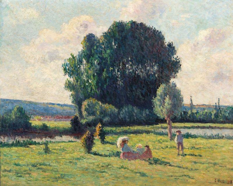 Maximilien LUCE - Painting - Une famille se reposant au soleil