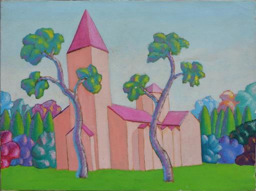SALVO - Pintura - Paesaggio con chiesa