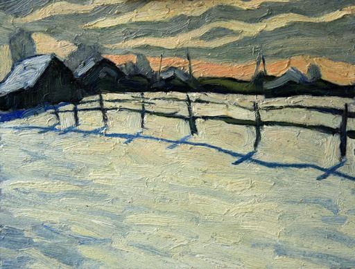 Valeriy NESTEROV - Painting - Village. Winter daybreak