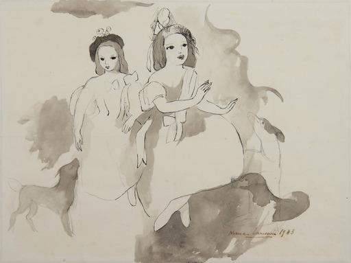 Marie LAURENCIN - Dessin-Aquarelle - Deux fillettes aux chiens