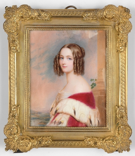 """Emanuel Thomas PETER - Drawing-Watercolor - """"Portrait of a young Beauty"""" miniature after Stieler, 1840s"""