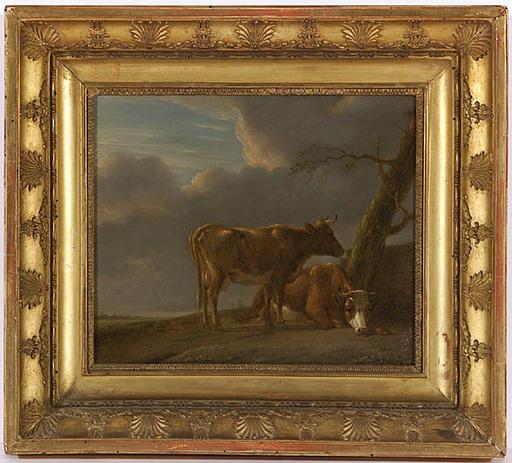 """Jan II Baptist KOBELL - Gemälde - """"Resting Herd"""", Oil on Panel, ca 1800"""