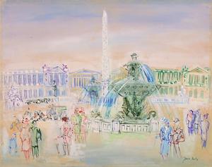 Jean DUFY - Drawing-Watercolor - Place de la Concorde