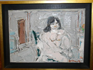 André COTTAVOZ - Peinture - Nu assis