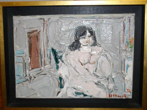 André COTTAVOZ - Pittura - Nu assis