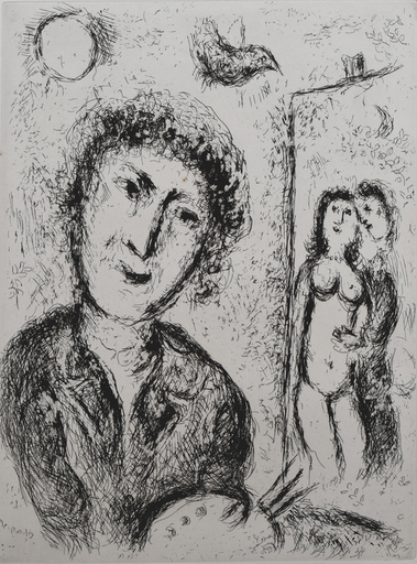 Marc CHAGALL - Estampe-Multiple - Self Portrait with Easel | Autoportrait au Chevalet