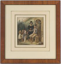"""Eugène DEVÉRIA - Dibujo Acuarela - """"Children and Veteran"""", 1834, Watercolor"""