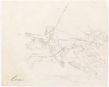 "Josef Eduard TELTSCHER - Dibujo Acuarela - ""Cossack Attack"", 1810s"
