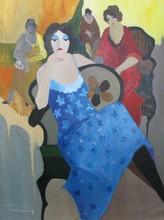 Isaac TARKAY - Peinture - * Turquoise Flowered Dress