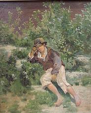 Anselm FEUERBACH - Painting - Knabe im Gebüsch