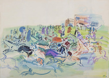 Raoul DUFY - Drawing-Watercolor - La course à Epsom