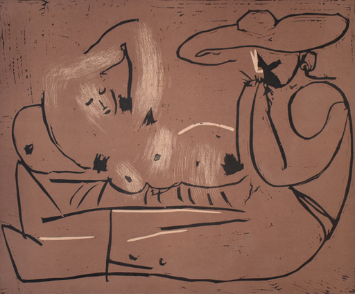 Pablo PICASSO - Print-Multiple - Woman Reclining and Man with Large Hat