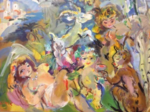 Ludwig KLIMEK - Pittura - Déjeuner sur l'herbe
