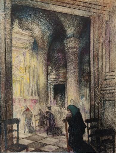 """Raymond DIERICKX - Disegno Acquarello - """"LES PAUVRES A L'EGLISE"""""""