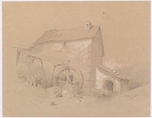 "Melchior FRITSCH - Drawing-Watercolor - ""Water Mill"", Drawing"