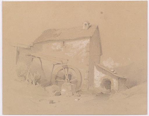 "Melchior FRITSCH - Zeichnung Aquarell - ""Water Mill"", Drawing"