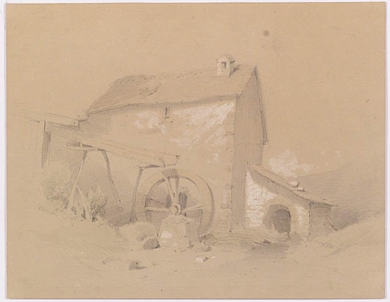 """Melchior FRITSCH - Drawing-Watercolor - """"Water Mill"""", Drawing"""