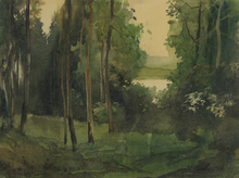Konstantin Andreevic SOMOV - Painting - A Clearing by the Lake