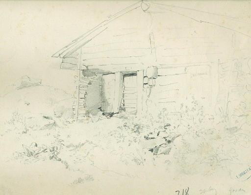 Leopold MUNSCH - Dibujo Acuarela - Study of a Farm Building