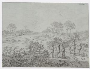 Pieter DE MOLIJN - Drawing-Watercolor - Paysage vallonné avec chasse aux oiseaux