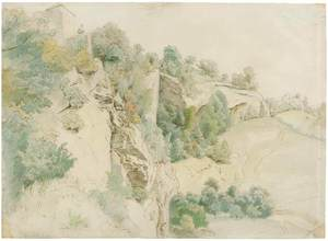 Hans THOMA - Disegno Acquarello - Bei Salzburg.