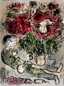 Marc CHAGALL - Estampe-Multiple - The Painter's Bouquet | Le bouquet de peintre
