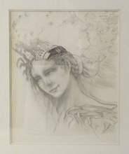 Alain JACQUET - Drawing-Watercolor - Femme à la coiffure