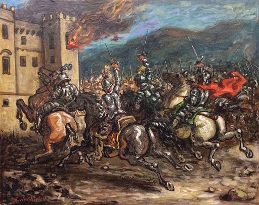 Giorgio DE CHIRICO - Pittura - Cavalieri all'assalto di un castello