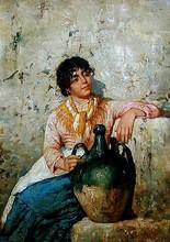 Vincenzo CAPRILE - Pintura - Girl with a Jug