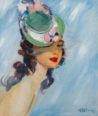 Jean Gabriel DOMERGUE - 绘画 - La belle Gabrielle aux yeux noirs