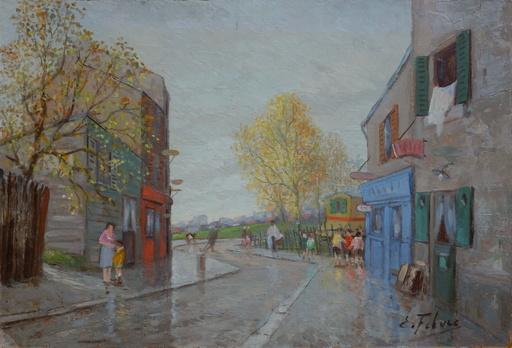 Edouard FEBVRE - Pintura - Rue animée en banlieue