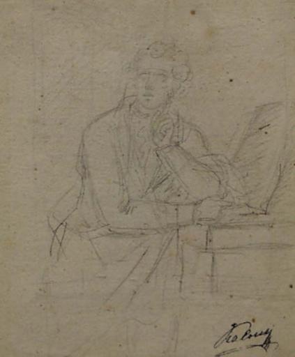 """Heinrich Friedrich FÜGER (Attrib.) - Dibujo Acuarela - """"Portrait of a Poet"""", 18th/19th Century"""