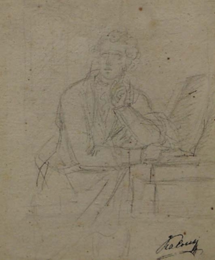 "Heinrich Friedrich FÜGER (Attrib.) - Disegno Acquarello - ""Portrait of a Poet"", 18th/19th Century"