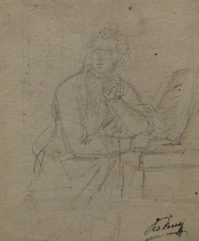 """Disegno Acquarello - """"Portrait of a Poet"""", 18th/19th Century"""
