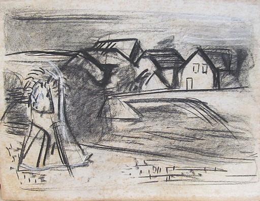 Erich HARTMANN - Dibujo Acuarela - #19985: Brücke bei Assisi.